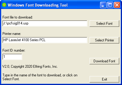 Windows PCL bitmapped Font Downloader  Windows or Silent Batch